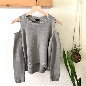 Topshop grey cold shoulder sweater